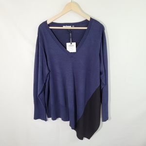 NWT 89th & MADISON Blue Asymmetrical Pullover Top
